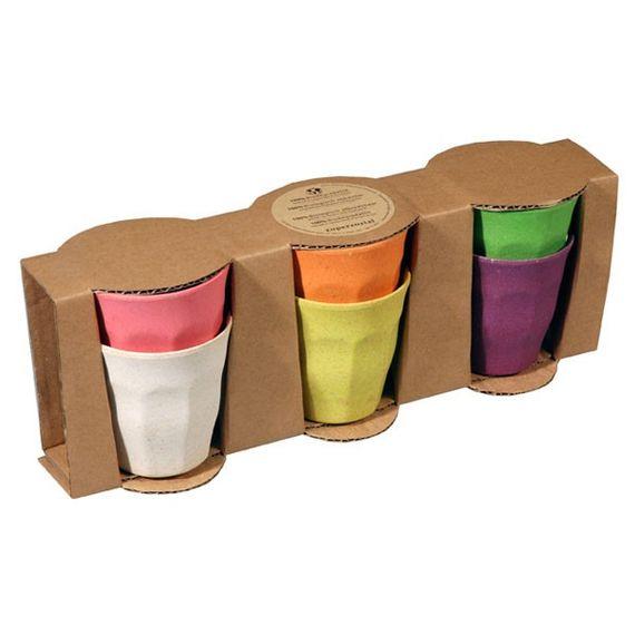 """Farbenfrohe Getränkebecher 6er Set """"Cupful of Color"""" Medium - aus Bambusfasern und Mais - Bild 3"""