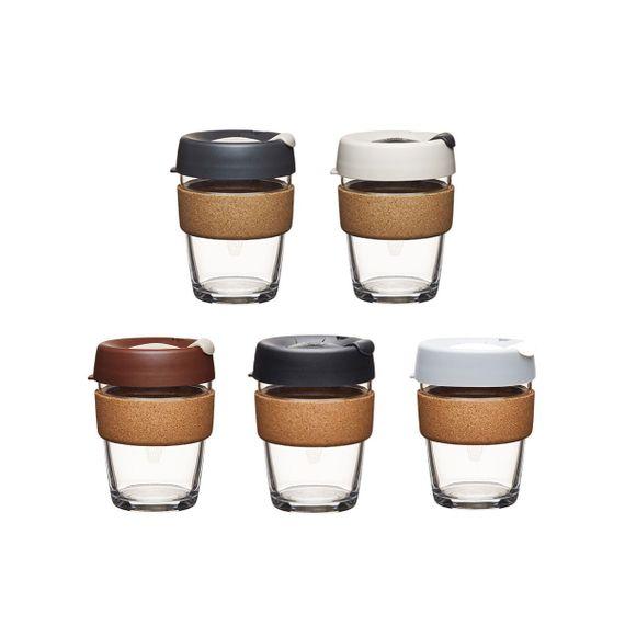 Coffee to go Becher aus Glas mit Grifffläche aus Kork - Brew Cork - Medium 340ml - Bild 1