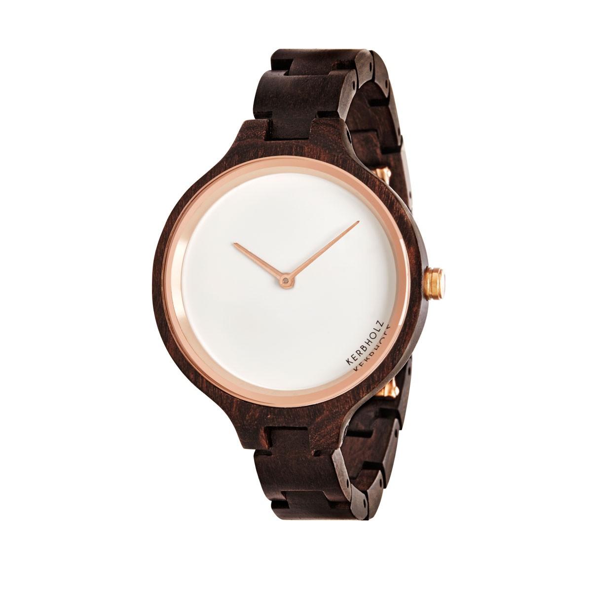 """Hinze"" Black Chacate - Damen-Armbanduhr aus Sandelholz von Kerbholz"