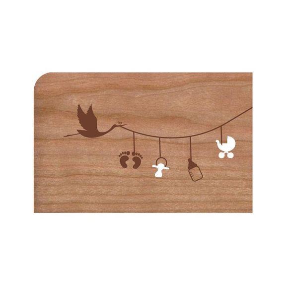"""Holz-Grußkarte """"Leine"""" mit Umschlag - Bild 1"""