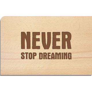 "Holz-Postkarte ""Never"""