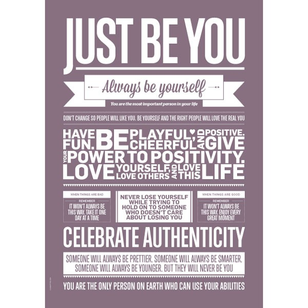 "Poster ""Just Be You"" (Violet) A3 von I LOVE MY TYPE"
