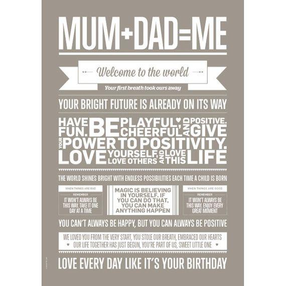 """Poster """"Mum+Dad=Me"""" (Sand) 50 x 70cm - Bild 1"""