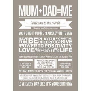 "Poster ""Mum+Dad=Me"" (Sand) A3"