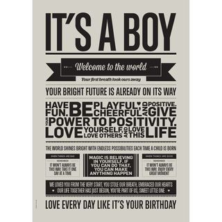 "Poster ""It's a Boy"" (Warm Grey) A3"