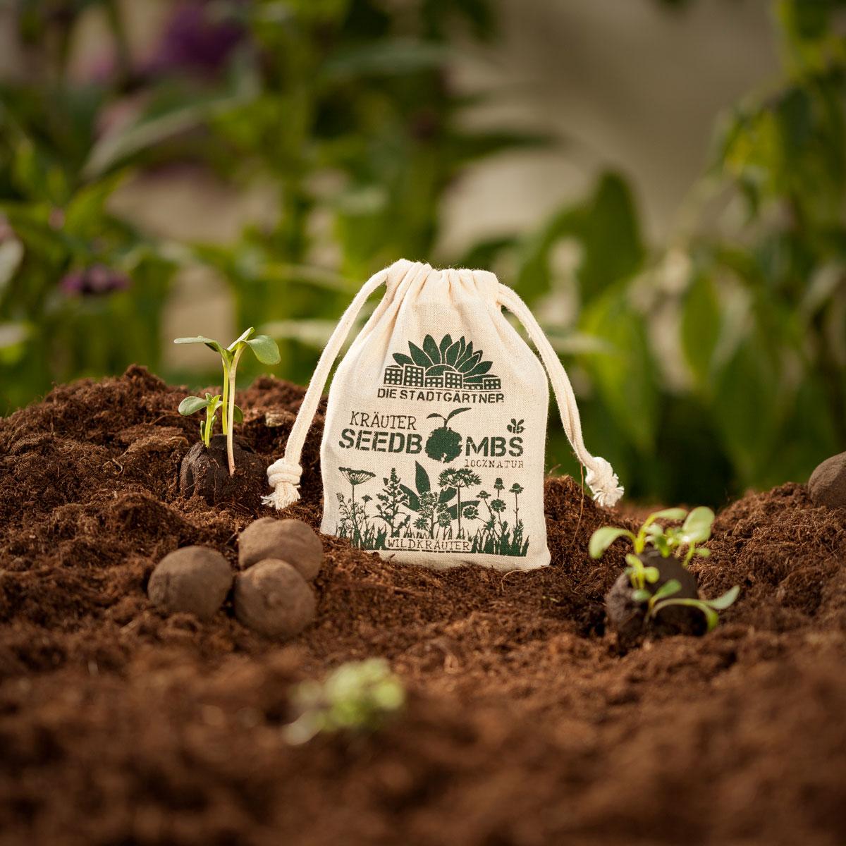 "8 Seedbombs ""Wildkräuter"" im Mini-Jutebeutel von Die Stadtgärtner"