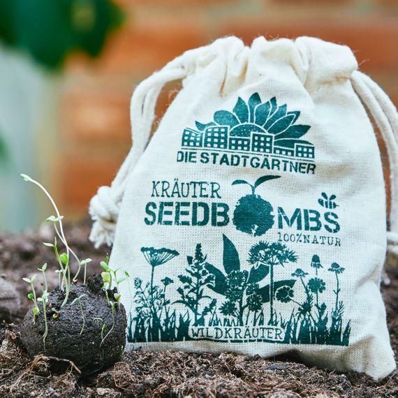 """8 Seedbombs """"Wildkräuter"""" im Mini-Jutebeutel - Bild 5"""