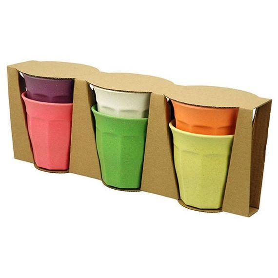 Farbenfrohe Getränkebecher 6er Set Large - aus Bambusfasern und Mais - Bild 5