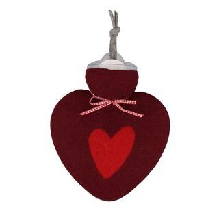 Herzwärmflasche Herzmotiv Farbe: Bordeaux
