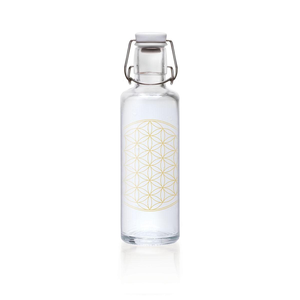 """soulbottle """"Flower of Life"""" 0,6 Liter - Trinkflasche aus Glas von soulbottles"""