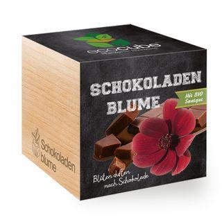 Schokoladen-Blume im Holzwürfel