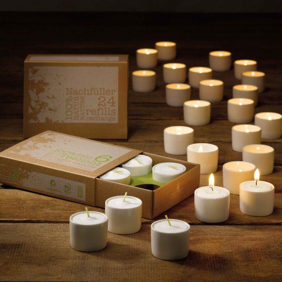 Naturlicht Teelichter im Porzellan-Gefäß (6 Stück) - Nachfüllbar - Bild 1
