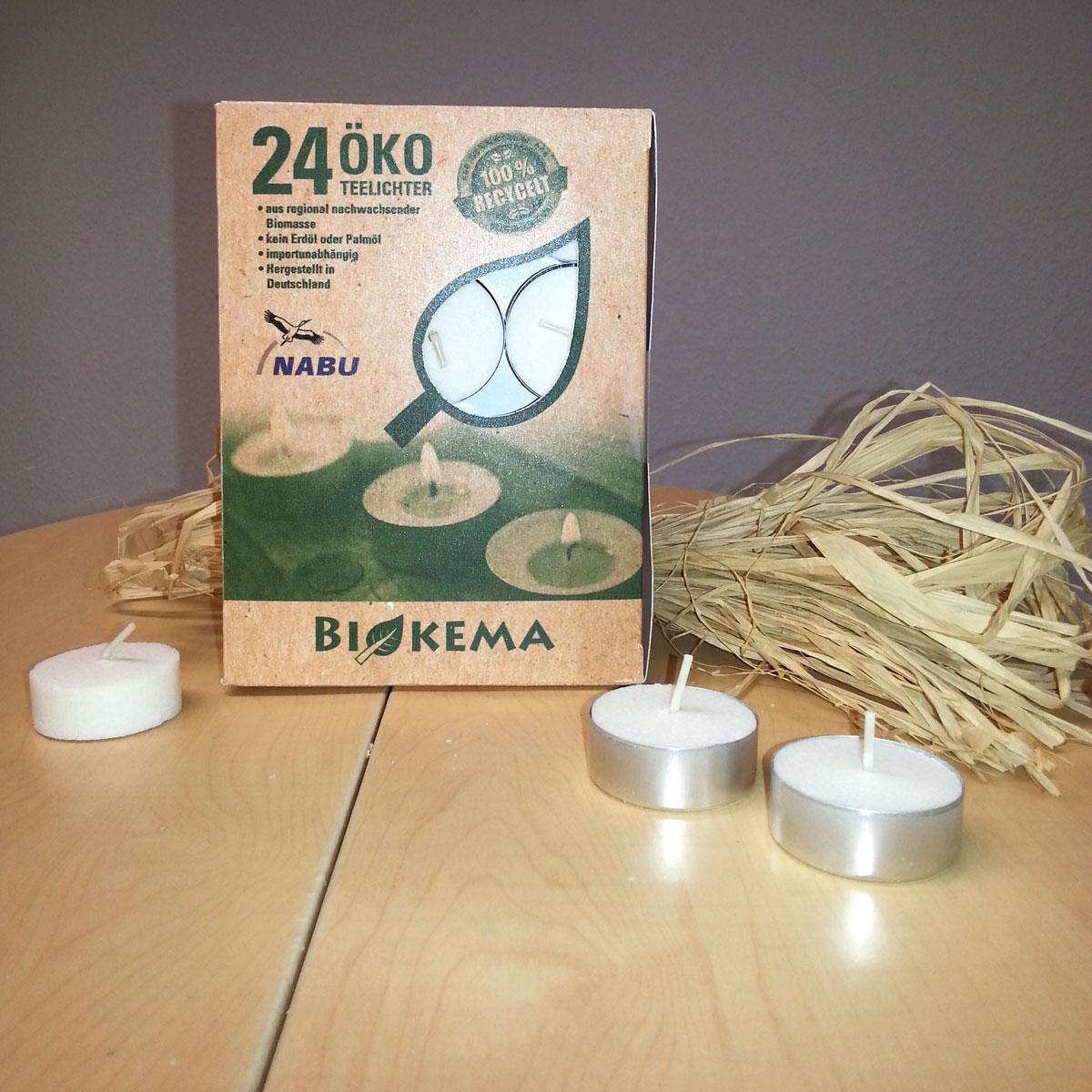 24er Pack Öko-Teelichter mit Aluhülle von BIOKEMA