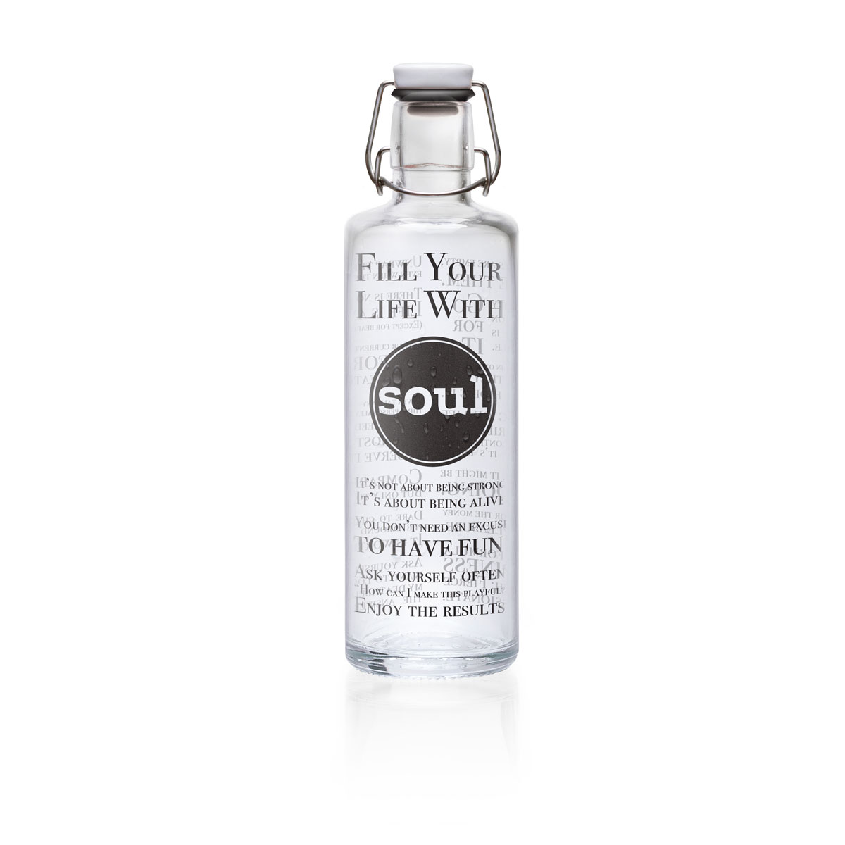 "soulbottle ""Fill your Life with Soul"" 1 Liter - Trinkflasche aus Glas von soulbottles"