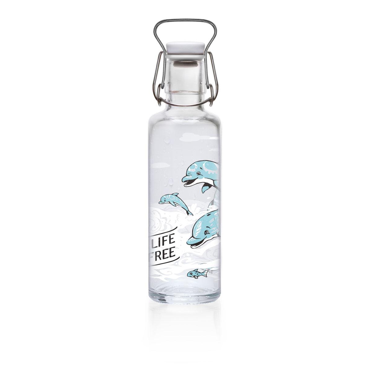 """soulbottle """"Joyphins"""" 0,6 Liter - Trinkflasche aus Glas"""