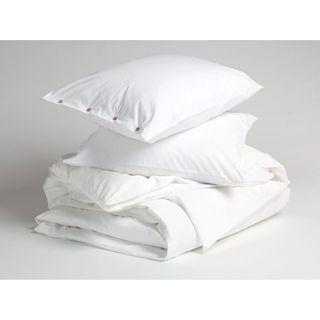 Bettwäscheset 155 x 220cm mit Kissenbezug 80x80cm aus Perkalbaumwolle Farbe: Pure White