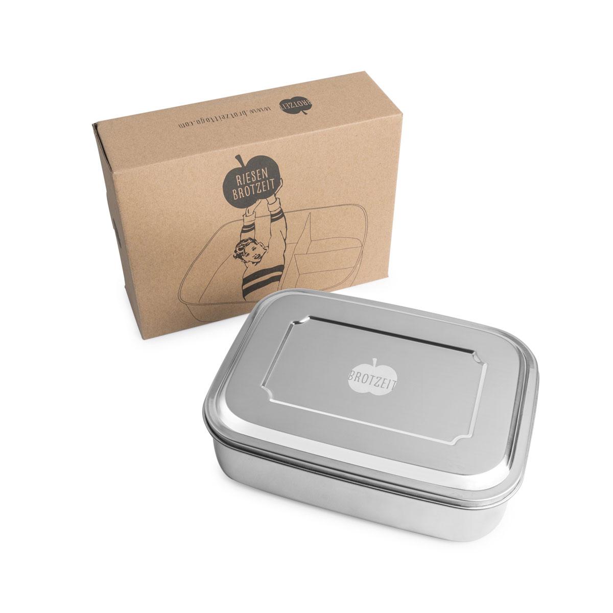 Lunchbox Riesen Brotzeit mit Unterteilung aus Edelstahl - 100% BPA frei, fest verschliessbar von Brotzeit