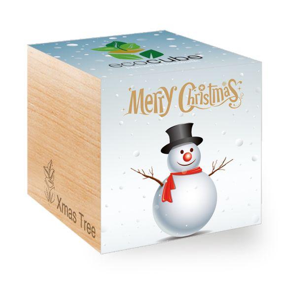 Weihnachtsbaum mit Schneemann-Motiv im Holzwürfel - Bild 1