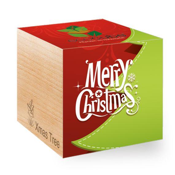 Weihnachtsbaum mit Merry Christmas-Motiv im Holzwürfel - Bild 1