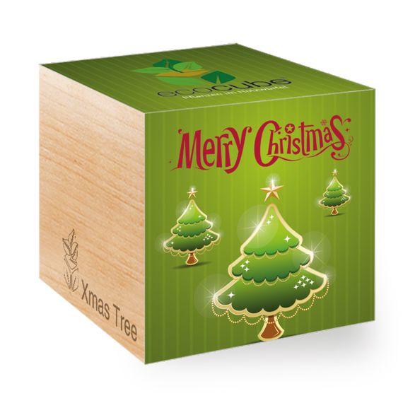 Weihnachtsbaum mit Merry Christmas Bäume-Motiv im Holzwürfel - Bild 1