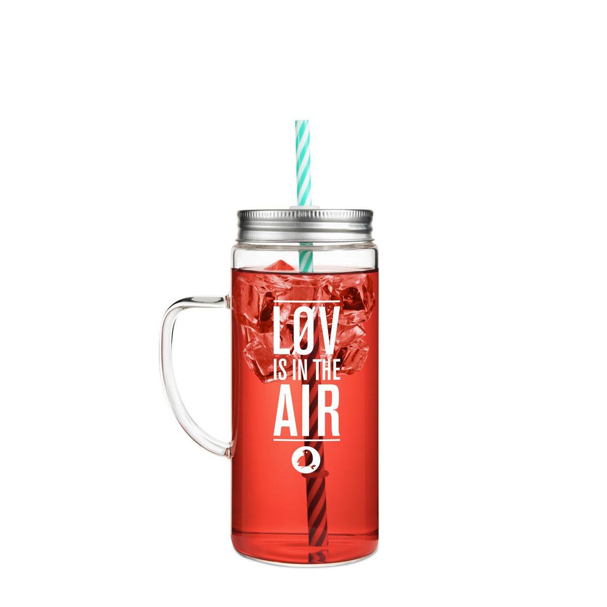 "Glas mit Strohhalm ""Løvely Jar"" aus Borosilikatglas von Løv Organic"
