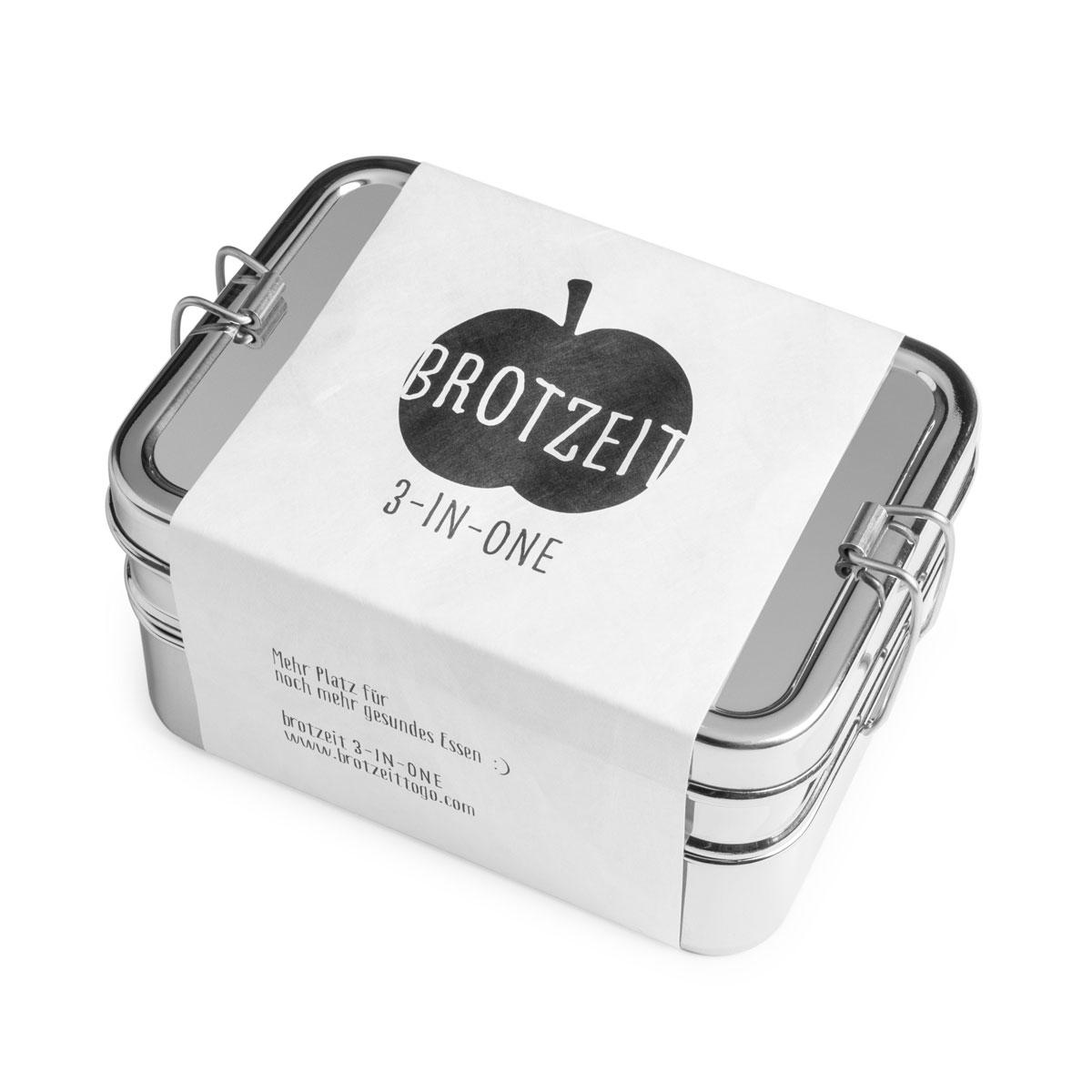 Lunchbox 3in1 Three-in-one Brotdose aus Edelstahl - 100% BPA frei, fest verschliessbar von Brotzeit