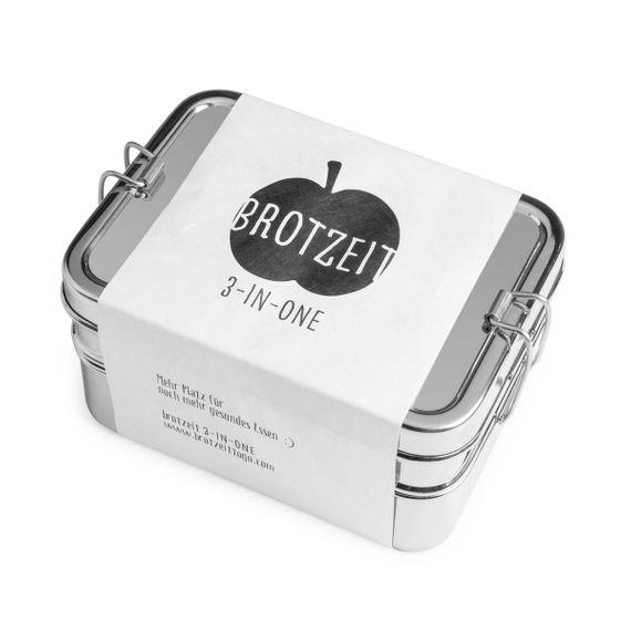Lunchbox 3in1 Three-in-one Brotdose aus Edelstahl - 100% BPA frei, fest verschliessbar - Bild 1
