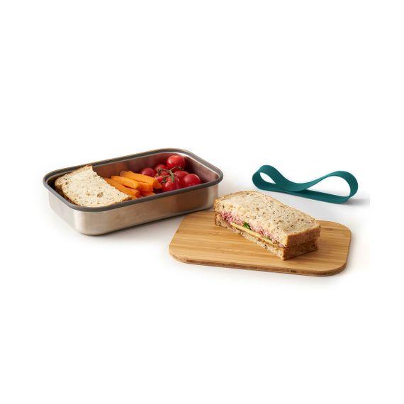 """Lunchbox """"Sandwich Box"""" aus Edelstahl mit Bambusdeckel - Bild 1"""