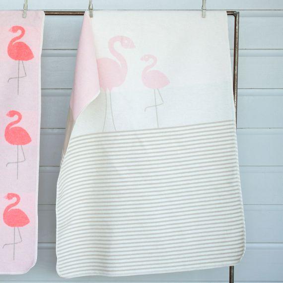 """Baby- und Kinderdecke JUWEL """"Flamingos/Streifen"""" - 70 x 90 cm - Bild 1"""