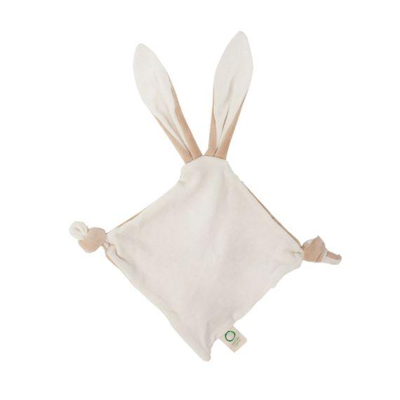 """Großes Schmusetuch """"Bunny Ears"""" mit Beißring aus Holz und Knisterohren - aus Bio-Baumwolle - Bild 2"""