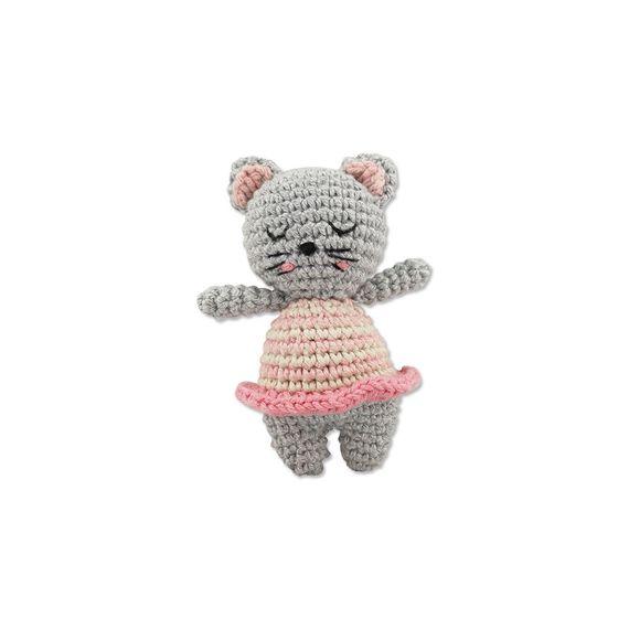 Häkelrassel Katze, rosa / grau - Bild