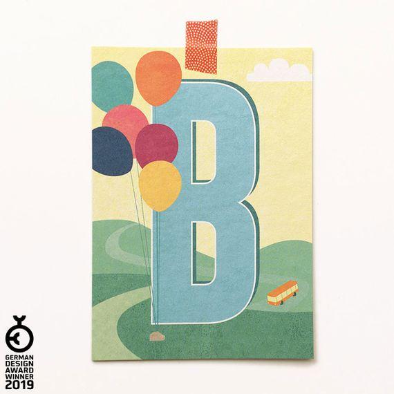 """""""B"""" Buchstaben-Postkarte - gedruckt auf Recyclingpapier  - Bild 1"""