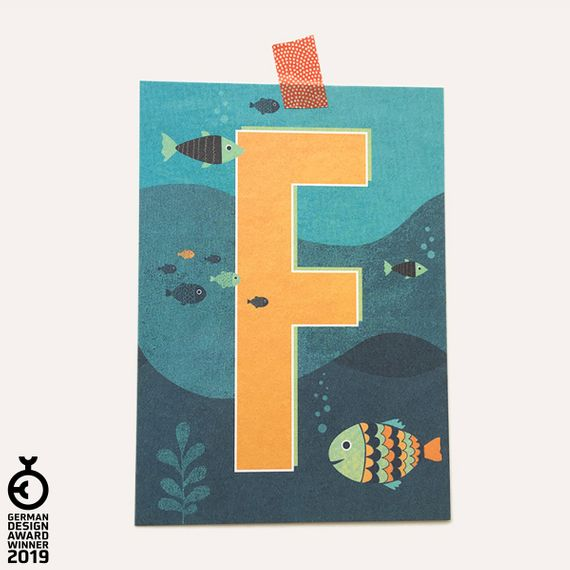 """""""F"""" Buchstaben-Postkarte - gedruckt auf Recyclingpapier  - Bild 1"""