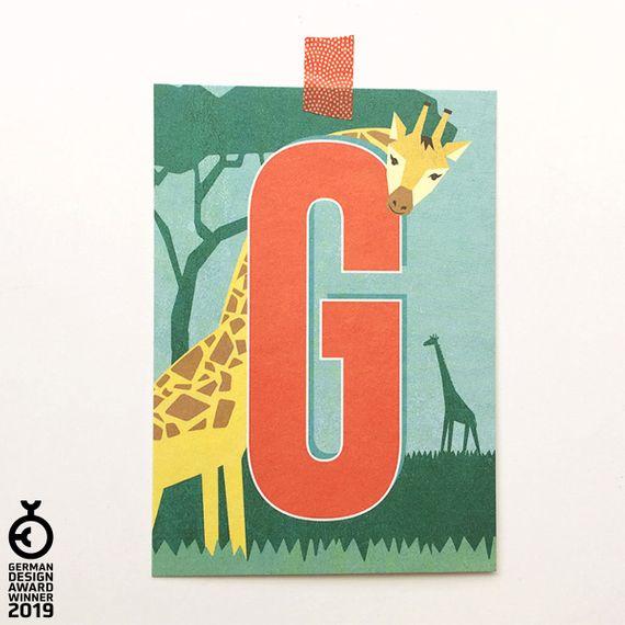 """""""G"""" Buchstaben-Postkarte - gedruckt auf Recyclingpapier  - Bild 1"""