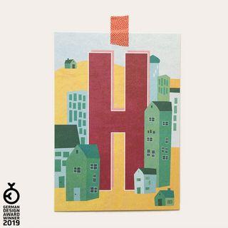 """H"" Buchstaben-Postkarte - gedruckt auf Recyclingpapier"