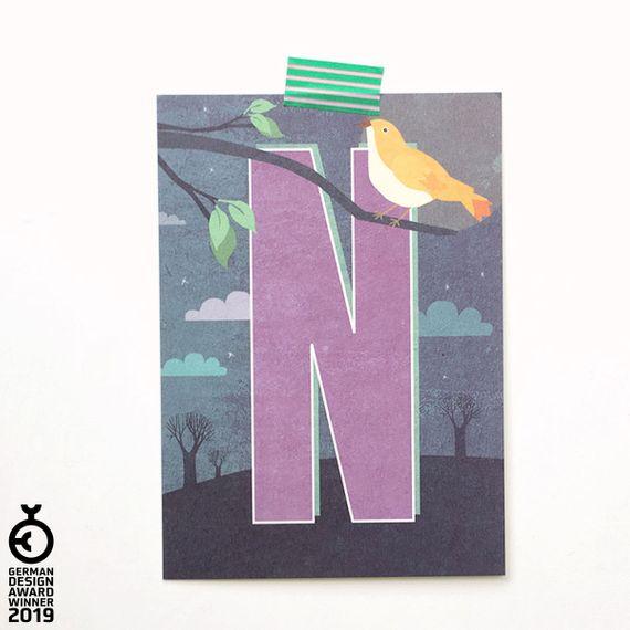 """""""N"""" Buchstaben-Postkarte - gedruckt auf Recyclingpapier  - Bild 1"""