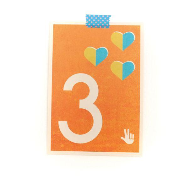 """3"" Zahlen-Postkarte - gedruckt auf Recyclingpapier  - Bild 1"