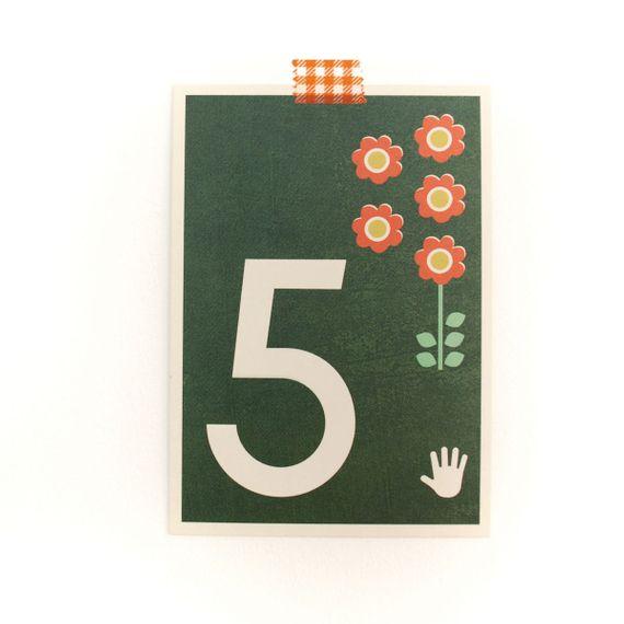 """5"" Zahlen-Postkarte - gedruckt auf Recyclingpapier  - Bild 1"