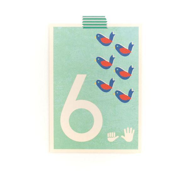 """6"" Zahlen-Postkarte - gedruckt auf Recyclingpapier  - Bild 1"