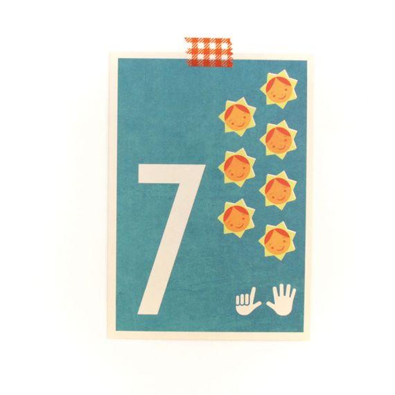 """7"" Zahlen-Postkarte - gedruckt auf Recyclingpapier  - Bild 1"