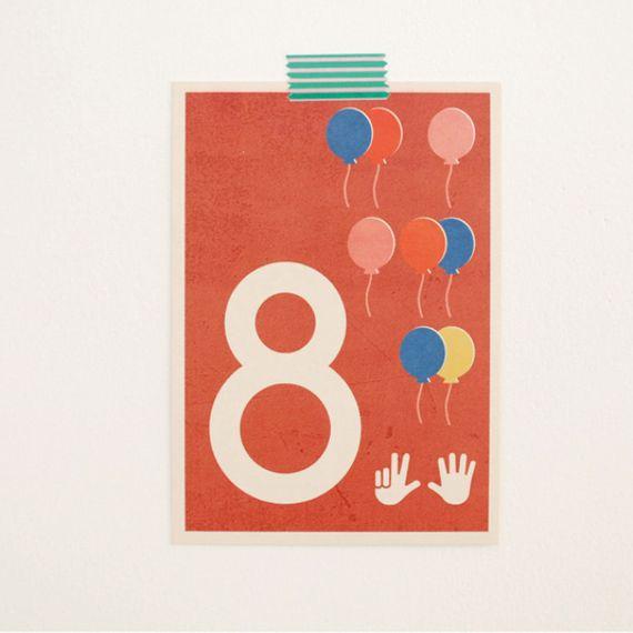 """8"" Zahlen-Postkarte - gedruckt auf Recyclingpapier  - Bild 1"