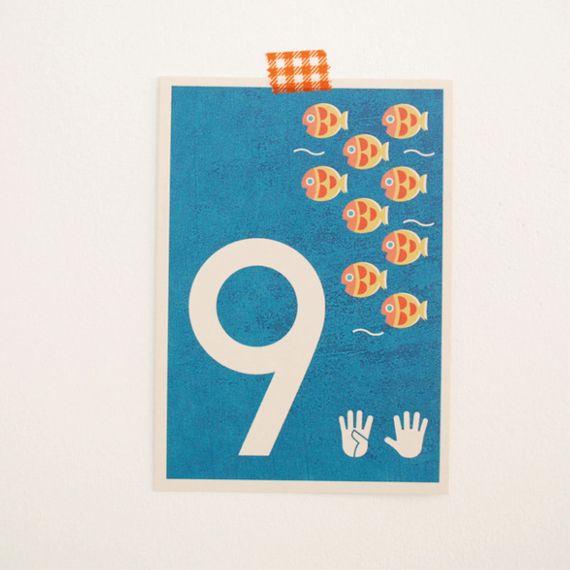 """9"" Zahlen-Postkarte - gedruckt auf Recyclingpapier  - Bild 1"