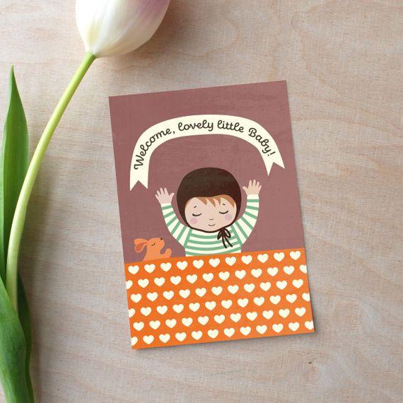 "Postkarte ""Welcome Baby"" braun - gedruckt auf Recyclingpapier  - Bild 1"