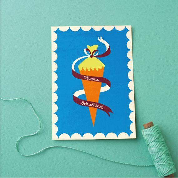 "Postkarte ""Hurra, Schulkind!"" blau - gedruckt auf Recyclingpapier  - Bild 1"