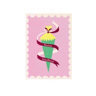 "Postkarte ""Hurra, Schulkind!"" rosa - gedruckt auf Recyclingpapier"