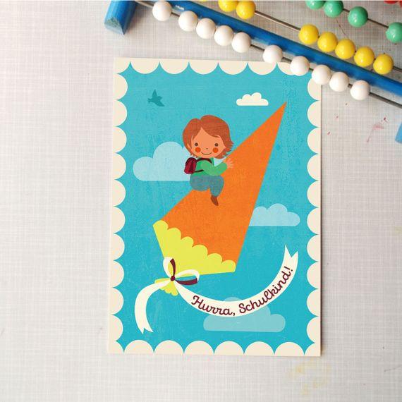 "Postkarte ""Hurra, Schulkind!"" Rakete - gedruckt auf Recyclingpapier  - Bild 1"