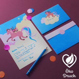 """10 Geburtstags-Einladungen """"Pferd""""  - gedruckt auf Recyclingpapier"""