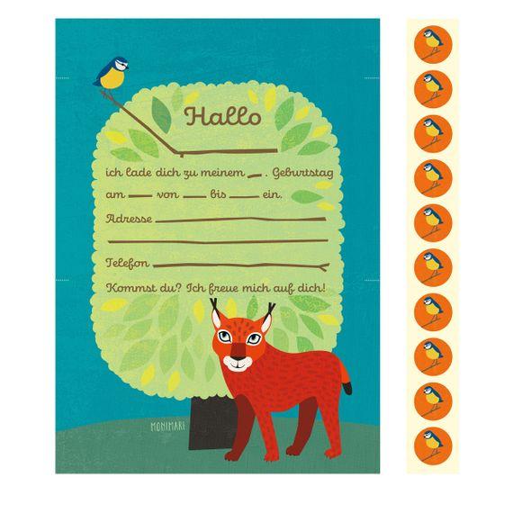 """10 Geburtstags-Einladungen """"Luchs""""  - gedruckt auf Recyclingpapier  - Bild 2"""