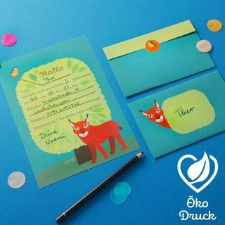 """10 Geburtstags-Einladungen """"Luchs""""  - gedruckt auf Recyclingpapier"""