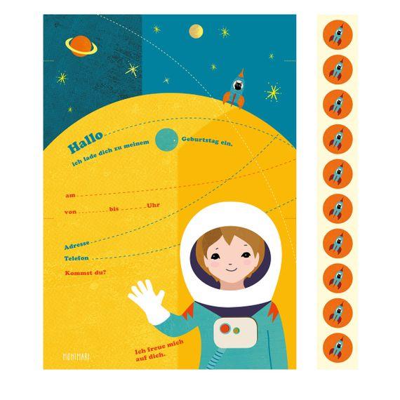 """10 Geburtstags-Einladungen """"Astronaut""""  - gedruckt auf Recyclingpapier  - Bild 2"""